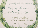 a chic wedding invitation in white and green is a beautiful and chic idea