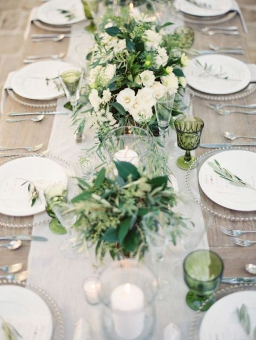 Romantic Organic Inspired White And Green Wedding Ideas
