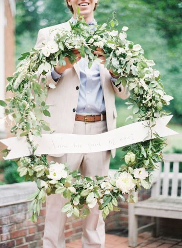 Picture Of romantic organic inspired white and green wedding ideas  3