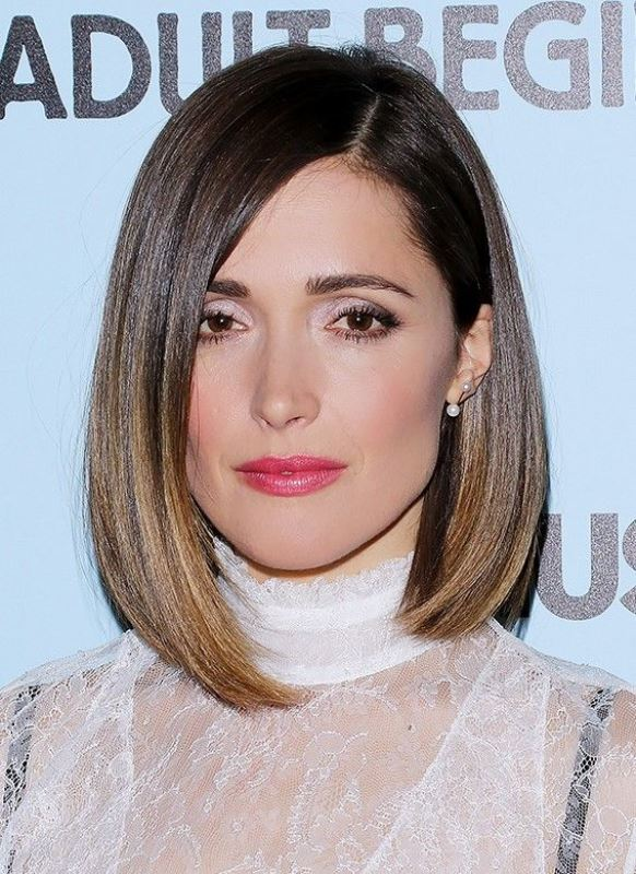 a bob with balayage and side parting is a cool way to style your short hair for a rehearsal dinner