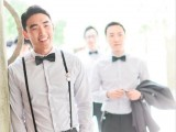 a neutral and chic look with grey pants, a white shirt, black suspenders and a bow tie is a comfortable and timeless idea