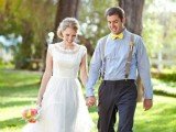 a rustic vintage groom's look with a light blue shirt, a yellow bow tie, grey pants and neutral suspenders