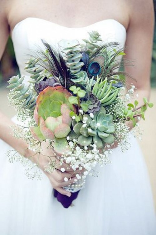 Textural Wedding Bouquets With Feathers