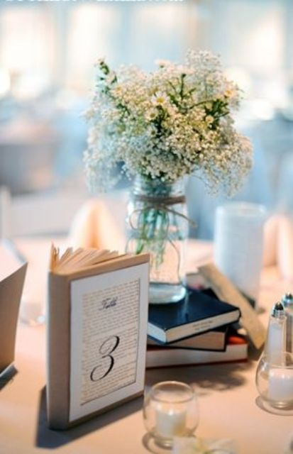 Simple and cute book wedding centerpieces weddingomania