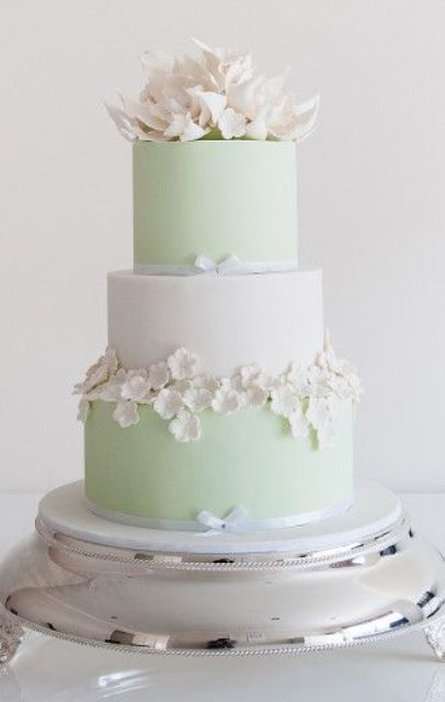a fresh spring-like mint green and white wedding cake with ribbons, sugar flowers on the sides and on top