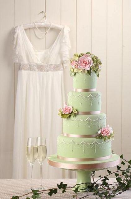 24 Gentle Mint Green Colored Wedding Cakes - Weddingomania