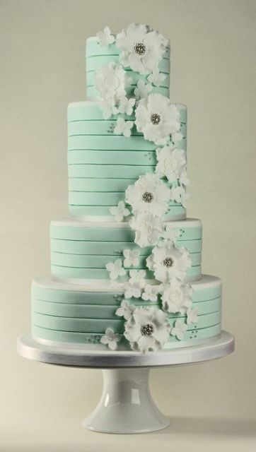 Mint Colored Wedding Cakes