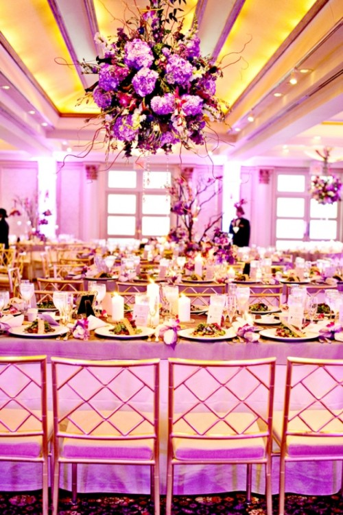 Pink And Purple Hanging Wedding Decor Ideas