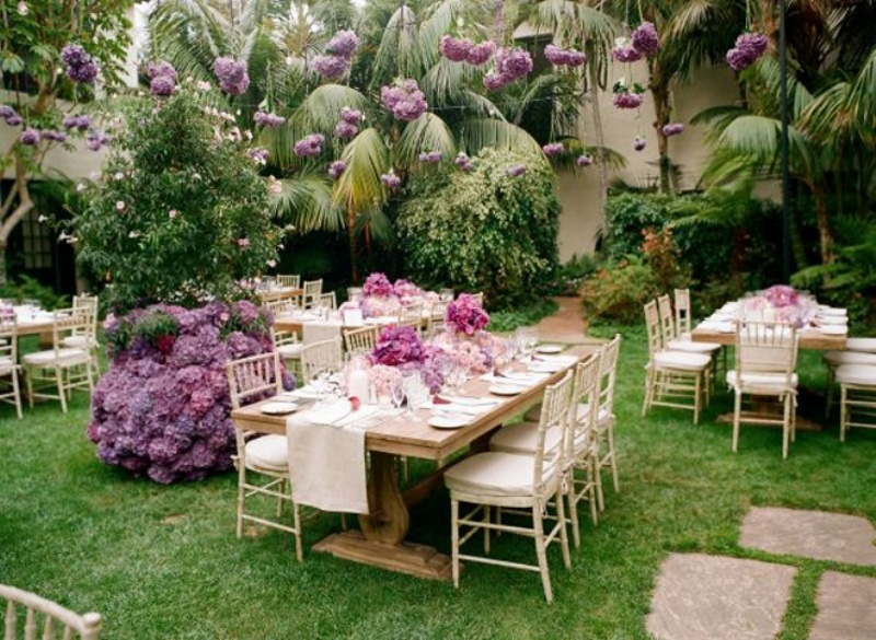 Picture of pink and purple hanging wedding decor ideas junglespirit Image collections