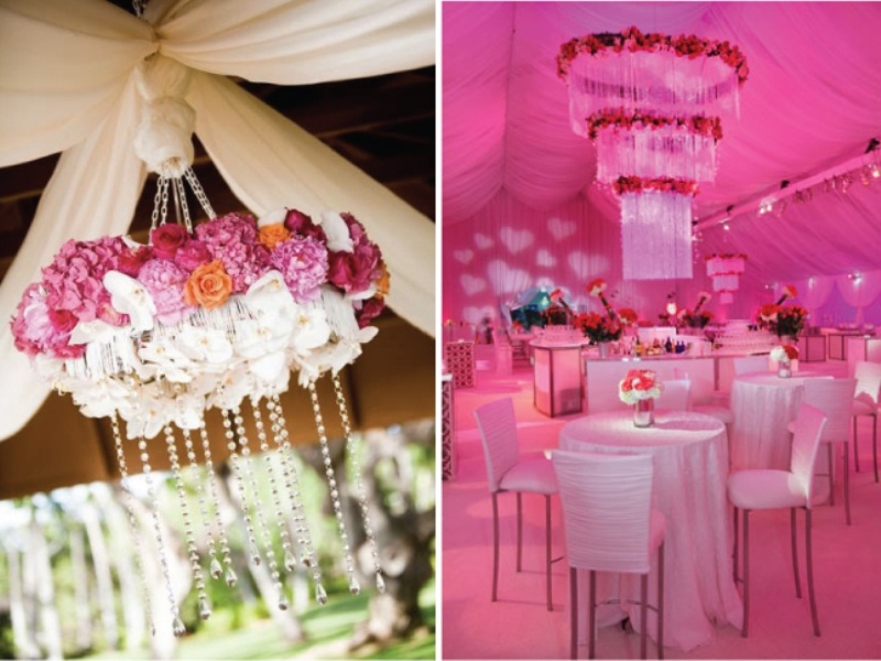 Picture Of Pink And Purple Hanging Wedding Decor Ideas