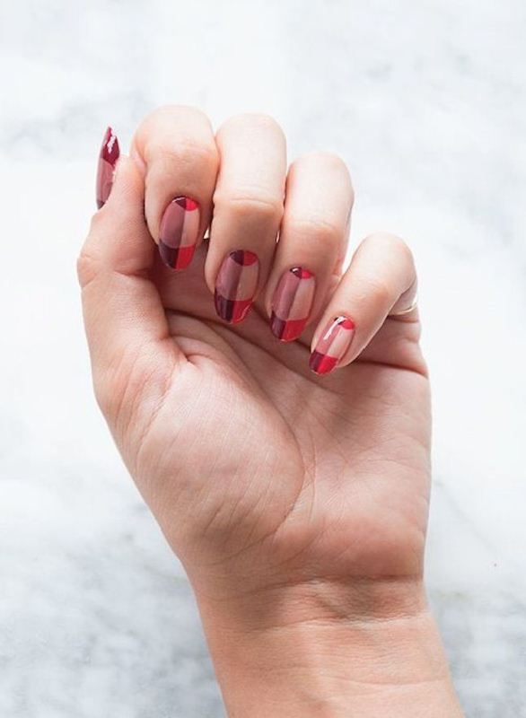 a catchy plaid manicure with pink, red, purple and tan are a stylish solution to go for