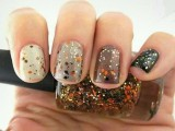 all-different nails in fall colors with colorful sprinkles on them are lovely, cheerful and very fall-like