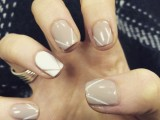 grey and white nails with geometric decor are neutral enough but have a special touch on them