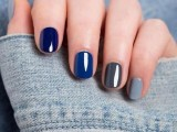 mismatching nails – a purple, navy, green and grey one for a bold and catchy fall bridal look