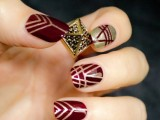 chic art deco burgundy and gold wedding nails are lovely for vintage-loving bride
