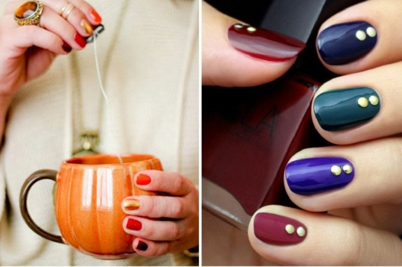 all different jewel tone nails with gold dots are lovely for a fall wedding, play with colors that you love