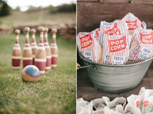 lawn games and popcorns are a perfect combo for a relaxed and fun bbq rehearsal dinner