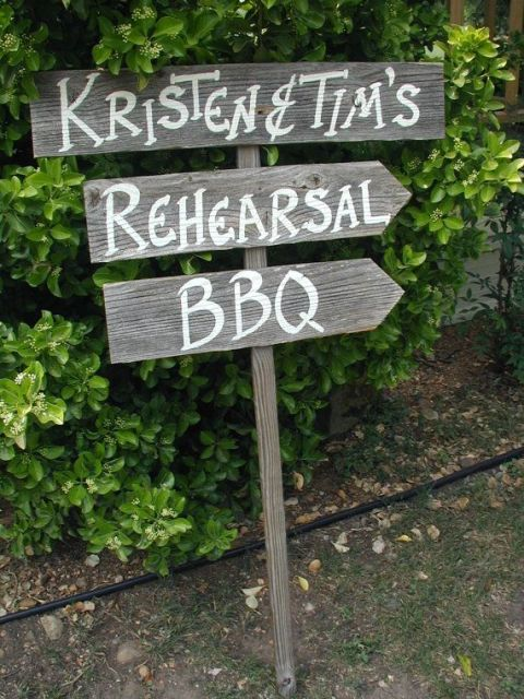 a simple rustic sign for a rehearsal dinner bbq is a cool decoration that you can easily DIY