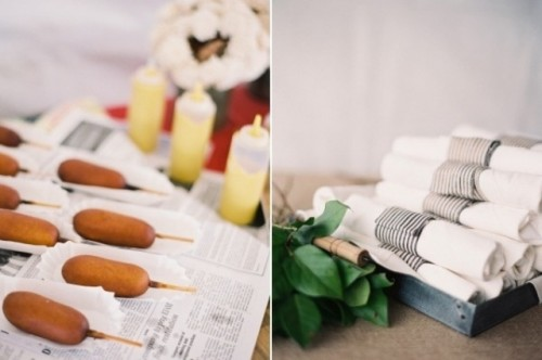 serve corndogs with various kinds of dips and sauces are great for any relaxed rehearsal dinner including a bbq one