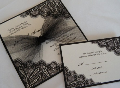 elegant black and white wedding stationery with black tulle and black lace for an elegant touch
