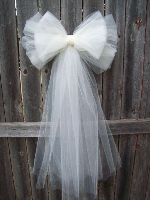 a large tulle bow can be anice wedding decoration for any space