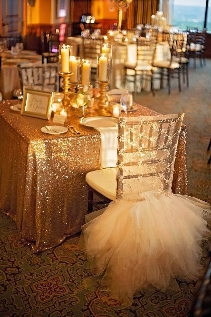 a glam chair cover with a touch of sparkle and a large tulle skirt