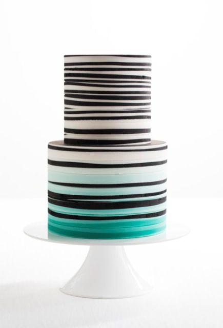 Picture Of Elegant Striped Wedding Cakes 15