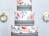 25 Elegant Striped Wedding Cakes17