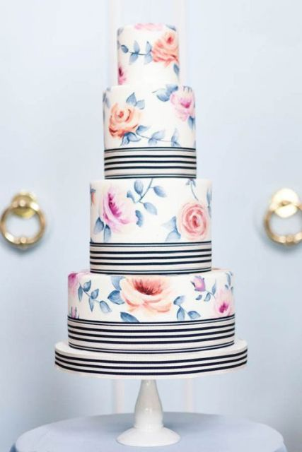 Picture Of Elegant Striped Wedding Cakes 17