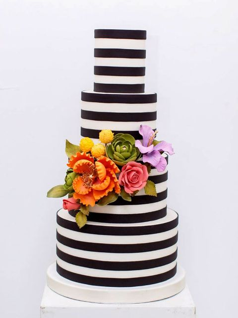 Elegant And Stylish Striped Wedding Cakes