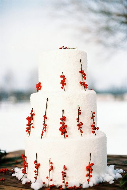 a white snowy wedding cake decorated with berries on twigs is a stylish idea for a winter boho or rustic wedding