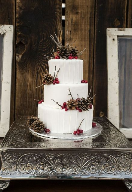 Picture Of Winter Wedding Cakes With Berries 4