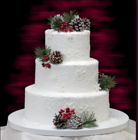 Winter Wedding Cakes Decorated With Berries