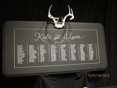 a chalkboard seating chart topped with antlers is a creative idea for a winter or woodland wedding