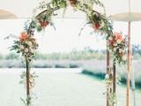 a minimalist fall wedding arch
