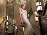 a fitting lace wedding dress with a V-neckline and cap sleeves and a stylized hairstyle for a Great Gatsby wedding