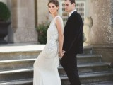 a romantic sleeveless fully embellished wedding dress with a train is a chic idea for a Great Gatsby wedding