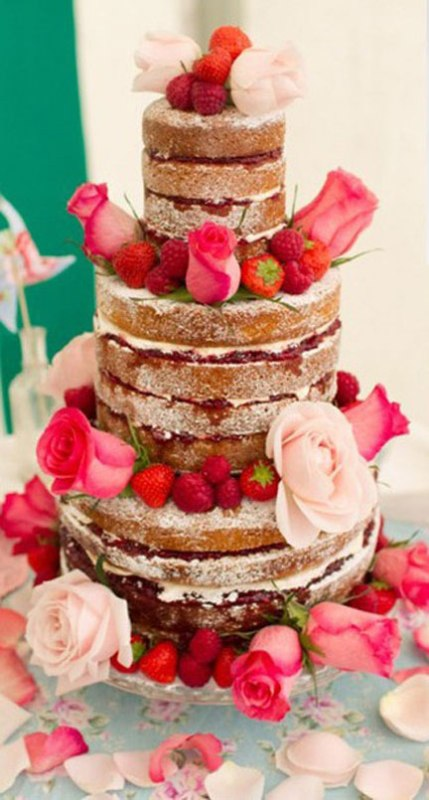 A Naked Wedding Cake Decorated With Berries And Fresh Roses Is Very Romantic Idea For