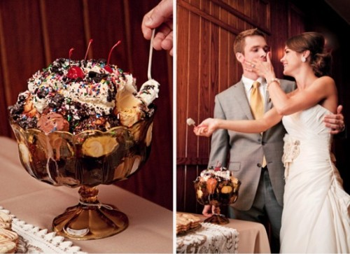 a fun ice cream sundae wedding cake topped with cherries for true ice cream lovers