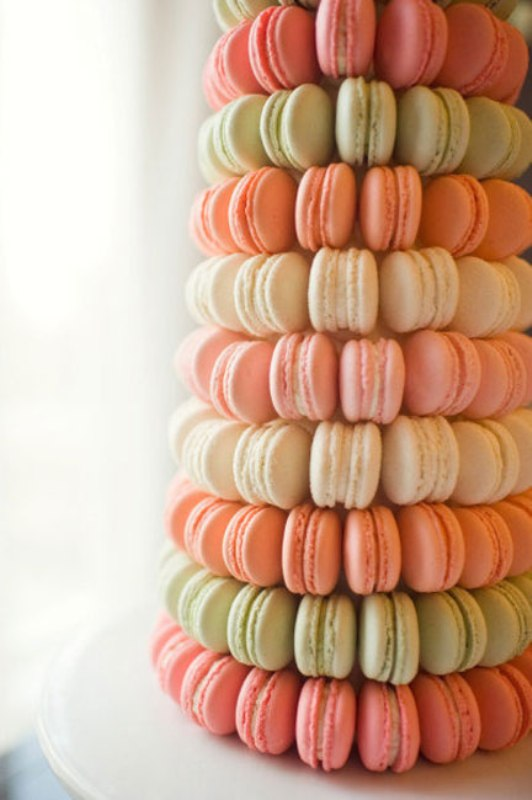 a pastel macaron tower is another cool alternative to a usual wedding cake, it's very elegant and refined
