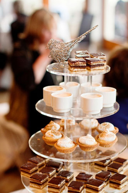 a stand with souffles, creme brulees, chocolate and tartlets is a modern and fresh idea to substitute your cake