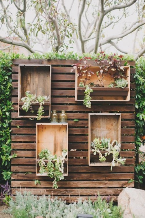 a stained pallet wood backdrop with plywood boxes with planters with greenery and succulents is a stylish idea for a rustic wedding