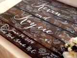 turn a dark stained pallet into a wedding guest book – it's very easy and very cool