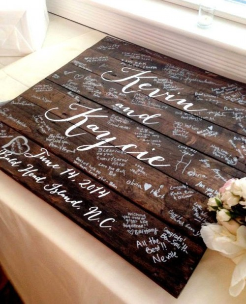 turn a dark stained pallet into a wedding guest book - it's very easy and very cool