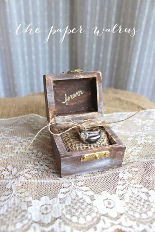 a rustic and shabby chic box with burlap and twine inside is a cool idea for a rustic or vintage wedding