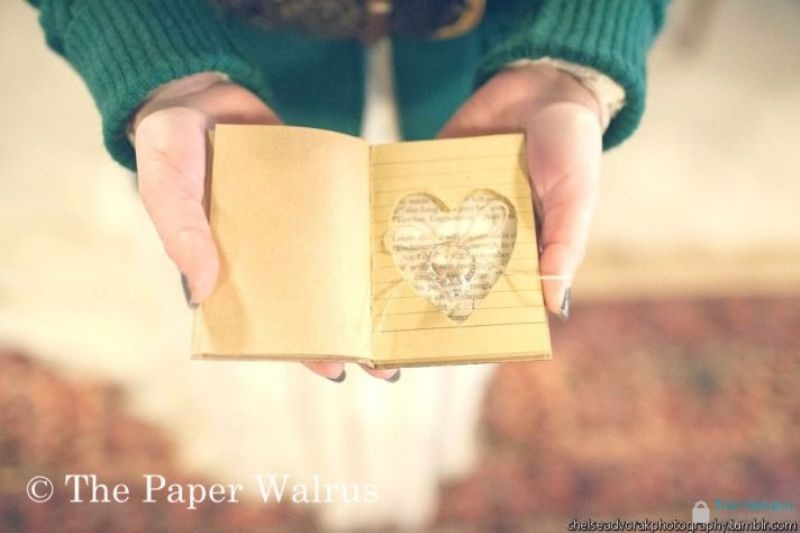 a small heart cut jornal with your favorite quotes or your pre wedding diary is a cool ring pillow alternative