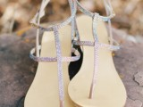 iridescent flat sandals like these will be a nice solution for a beach bride or bridesmaid