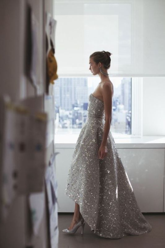 a grey embellished A line strapless high low wedding dress and matching shoes for a super glam and chic look
