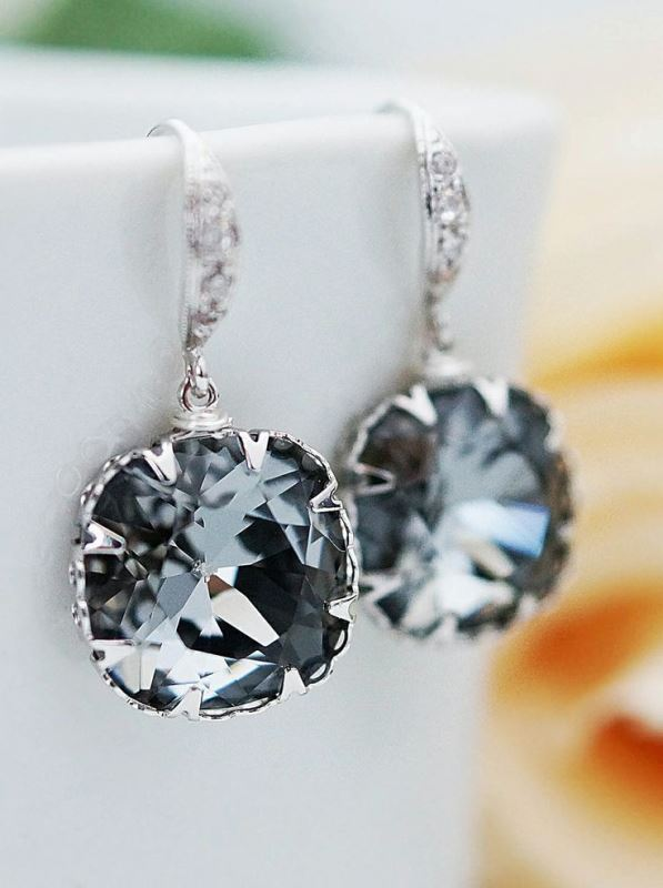 grey rhinestone statement earrings are bold and glam and will complete your bridal or bridesmaid look at their best