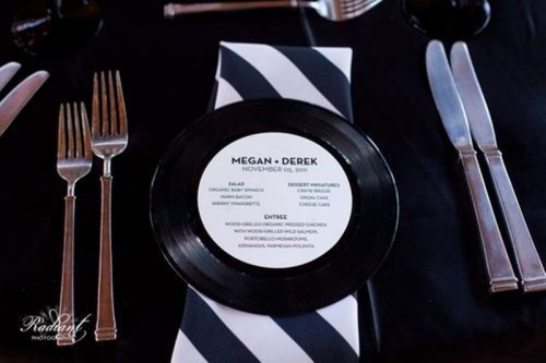 vinyl with a menu attached is a fun and unique idea for a music-loving couple